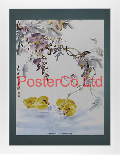 "Wisteria And Ducklings (Oriental Art) - Chow Chian-Chu & Chow Leung Chen-Ying - Framed Plate - 16""H x 12""W"