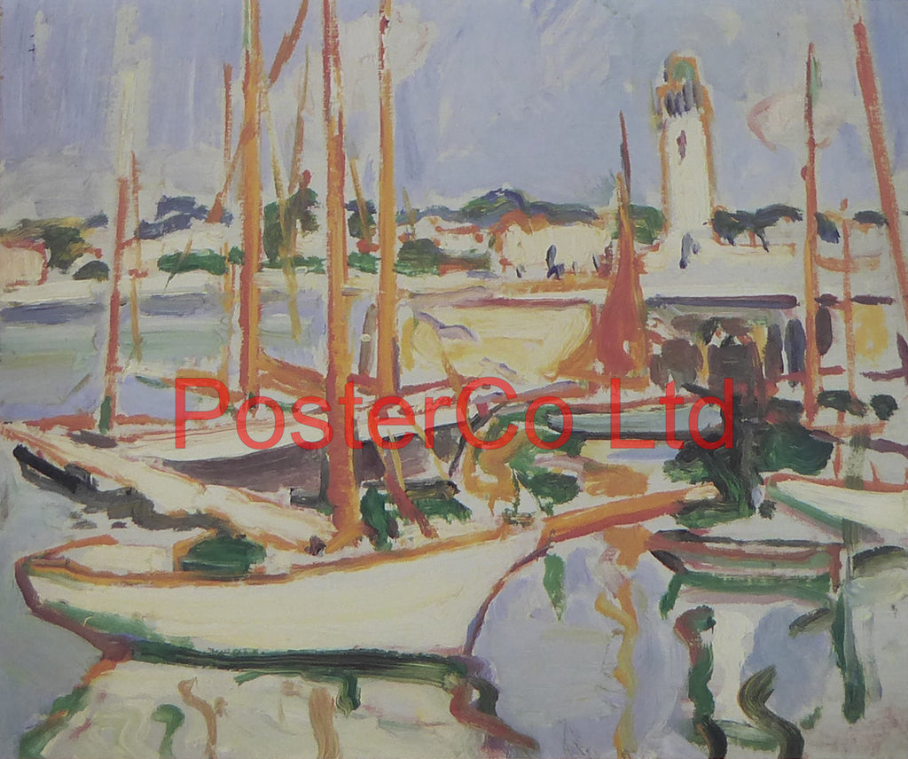 "Boats at Royan - Samuel Peploe - Framed Print - 12""H x 16""W"