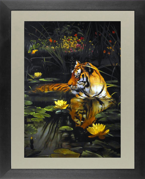 Tiger in a lily pond