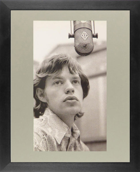 Mick Jagger with microphone (black & white)
