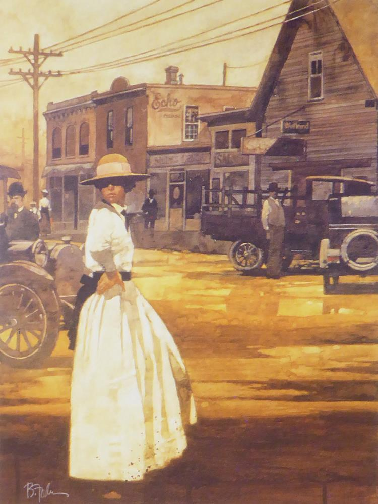 Woman in white dress & hat with cars & buildings in background