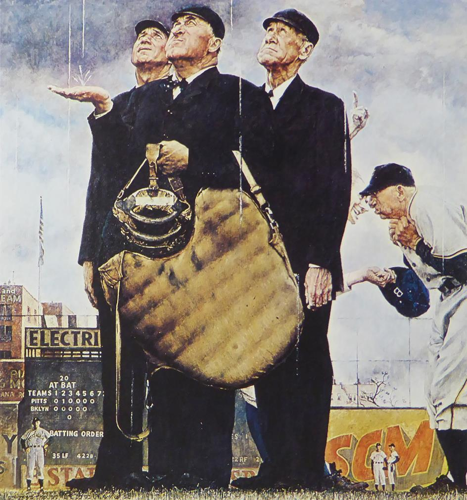 "Norman Rockwell ""Game Called Because of Rain (Tough Call)"""
