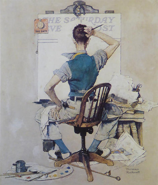 "Norman Rockwell ""Artist Facing Blank Canvas"""