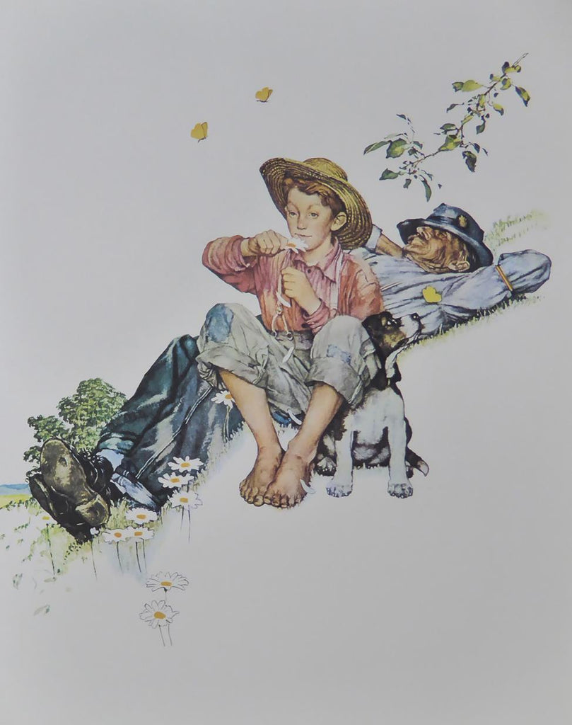 "Norman Rockwell ""Grandpa and Me picking daisies"""