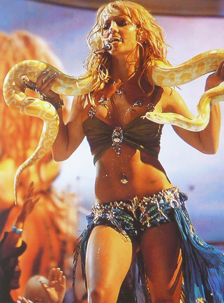 Britney Spears with snake on stage (colour)