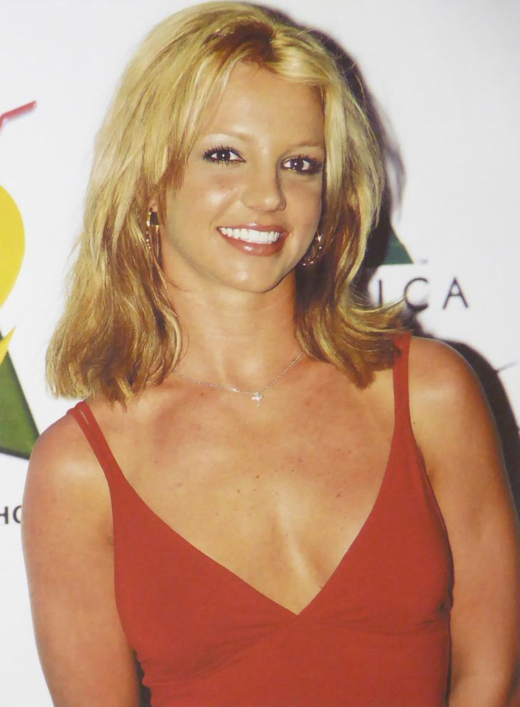 Britney Spears in a red dress
