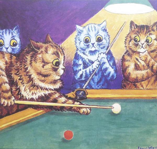 4 cats playing snooker   Louis Wain