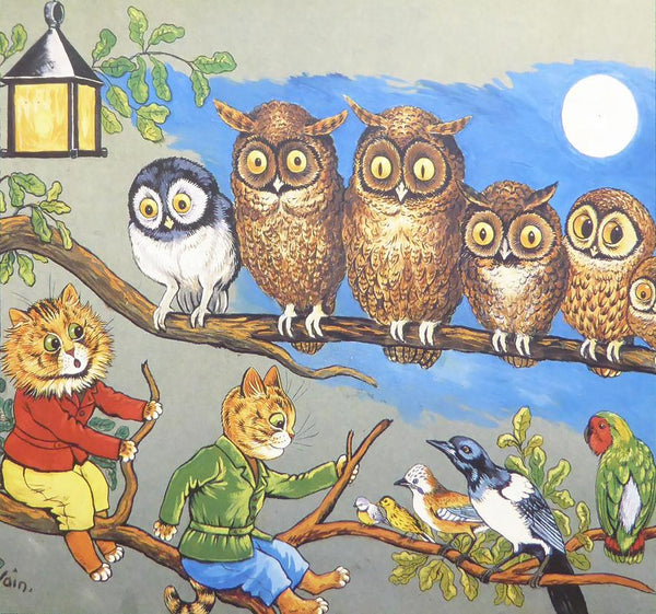 2 Cats,6 owls & 5 birds on a tree   Louis Wain