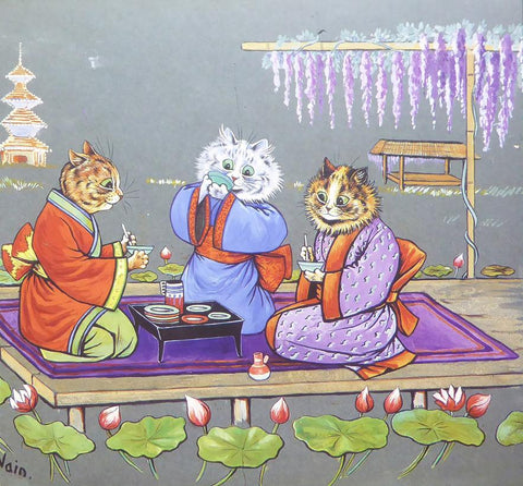 3 Cats having Japanese tea party   Louis Wain