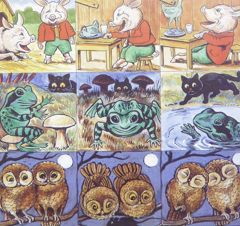 3 Pigs ,3 frogs & 6 owls   Louis Wain