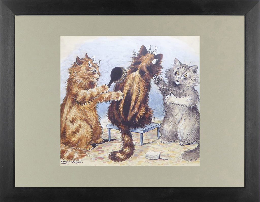 cced99a9f1b 2 Cats grooming another cat - Louis Wain - Framed Picture - 12
