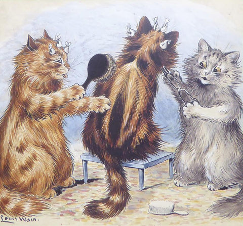 2 Cats grooming another cat   Louis Wain