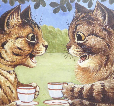 2 Cats having a cup of tea   Louis Wain