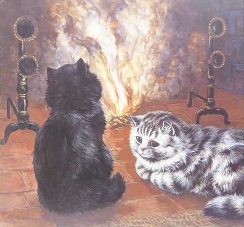 2 Cats in front of a fire   Louis Wain