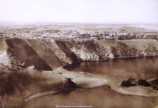 Mount Gambier from Lakes Adelaide  (Original 1920's Print)