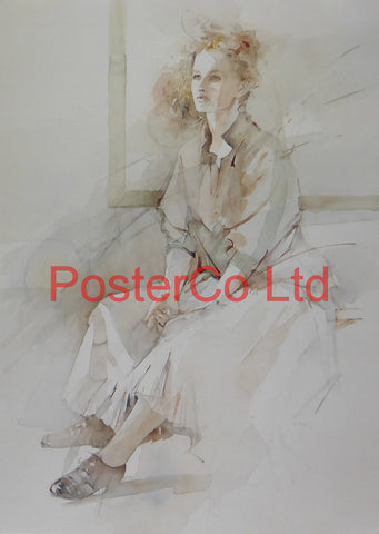 "Expectation (Lady) - Christine Comyn - Felix rose 1989 - Framed Print - 16""H x 12""W"