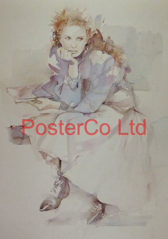 "Contemplation (Lady) - Christine Comyn - Felix rose 1989 - Framed Print - 16""H x 12""W"