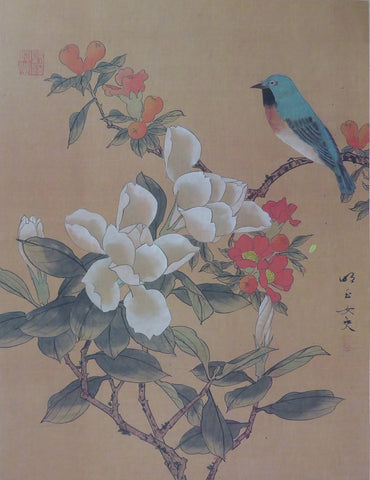 Asian white and red Flowers and Bird