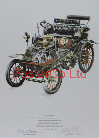 "Daimler 1899 - John Lawson and Lord Montague of Beaulieu - (Limited Numbered and Signed Edition) - Framed Print - 16""H x 12""W"