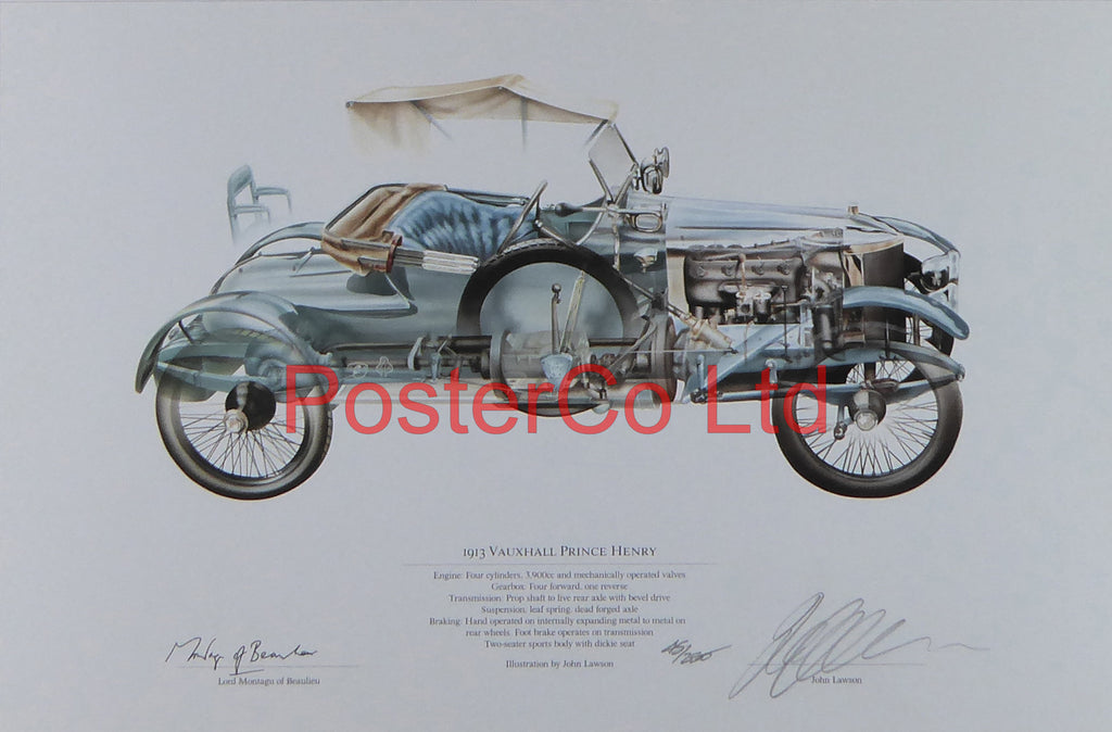 "Vauxhall Prince Henry 1913 - John Lawson and Lord Montague of Beaulieu - (Limited Numbered and Signed Edition) - Framed Print - 12""H x 16""W"