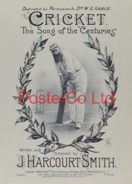 "Cricket Song of the Centuries Sheet Music Art - Framed Print - 16""H x 12""W"