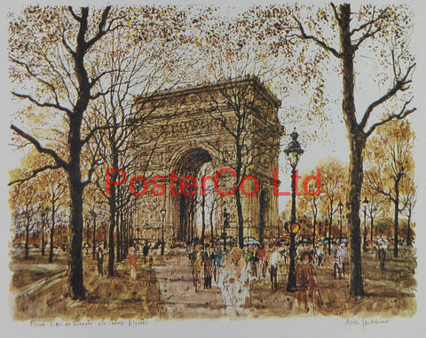 "Arc de Triomphe and Les Champs Elysees - Alexei Jawdokimov - Framed Print - 12""H x 16""W"