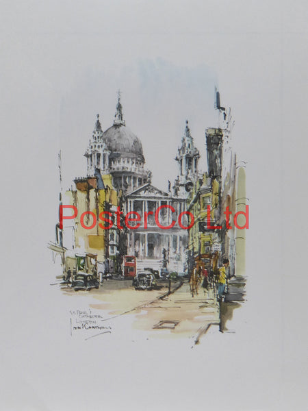 "St Pauls Cathedral - Jan Korthals - Donald Art 1965  - Framed Print - 16""H x 12""W"