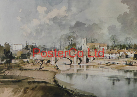 "Aylesford Bridge -  Similar to Rowland Hilder - Royle 1981 - Framed Print - 12""H x 16""W"
