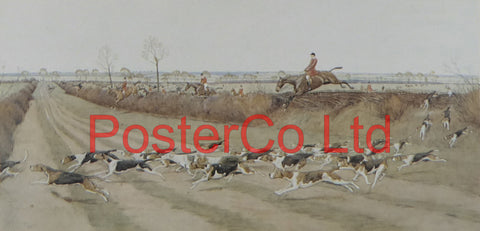 "A Pytchley Wednesday ""Gone Away from Crick"" (Hunting Scene) - Cecil Aldin - Felix Rose 1989 - Framed Print - 12""H x 16""W"