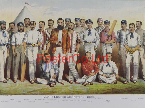 "Famous English Cricketers - Boys Own Paper - Framed Print - 12""H x 16""W"