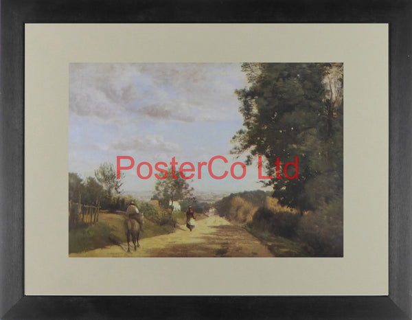 "A country lane (Le Chemin de Sevres) - Jean-Baptiste-Camille Corot - Framed Print - 12""H x 16""W"