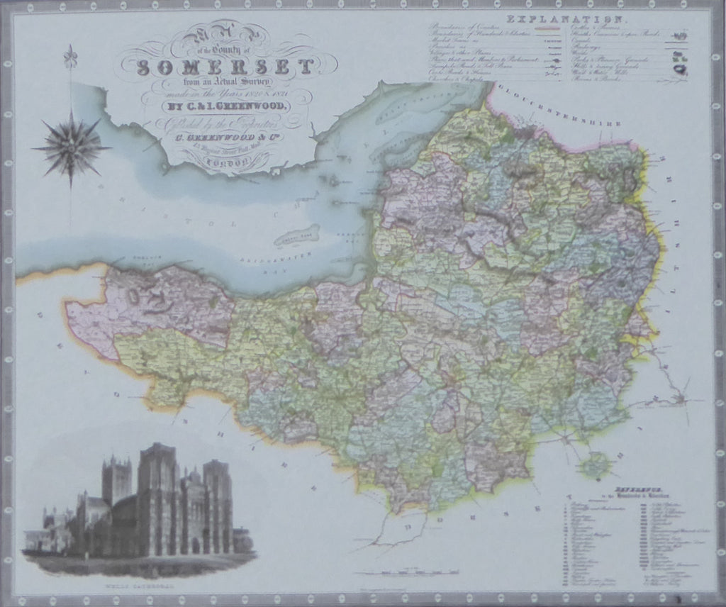 "Somerset Map by C & J Greenwood - Framed Print - 16""H x 20""W"