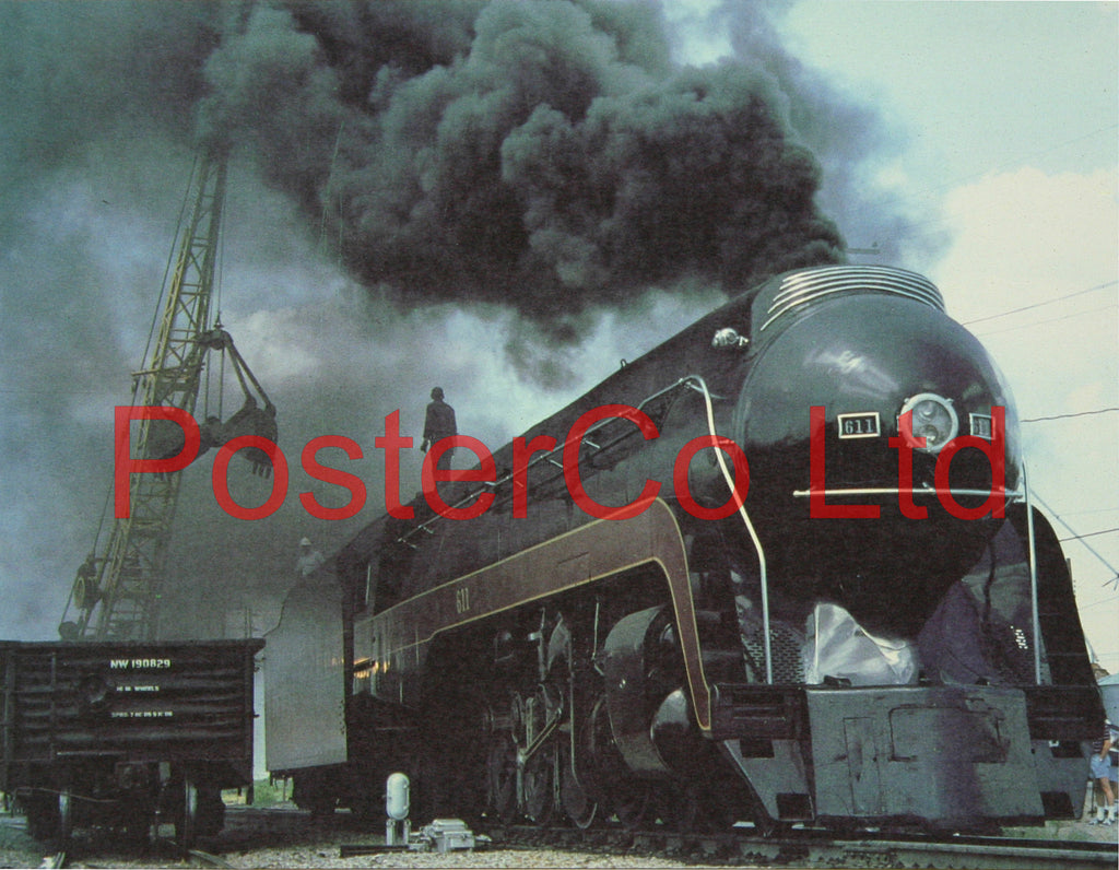 "Norfolk and Western 4-8-4 express coaling up Steam Train - Framed Picture - 11""H x 14""W"