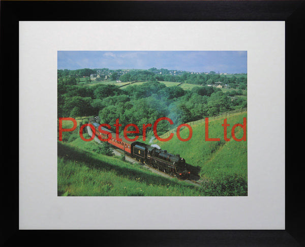 "4-6-0 No.75078 in Mytholmes Cutting, England - Steam Train - Framed Picture - 11""H x 14""W"