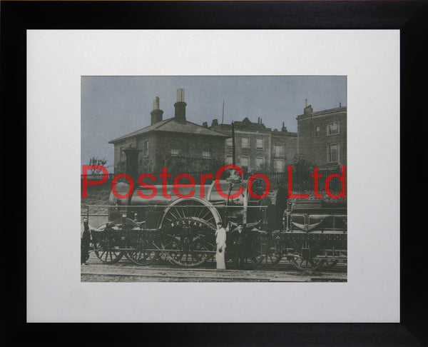 """Sultan"" with her vast center drive wheel - Steam Train - Framed Picture - 11""H x 14""W"