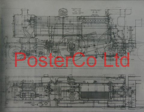 "Class ""E"" 4-4-0 the English version of the American Engineers Drawings - Steam Train - Framed Picture - 11""H x 14""W"