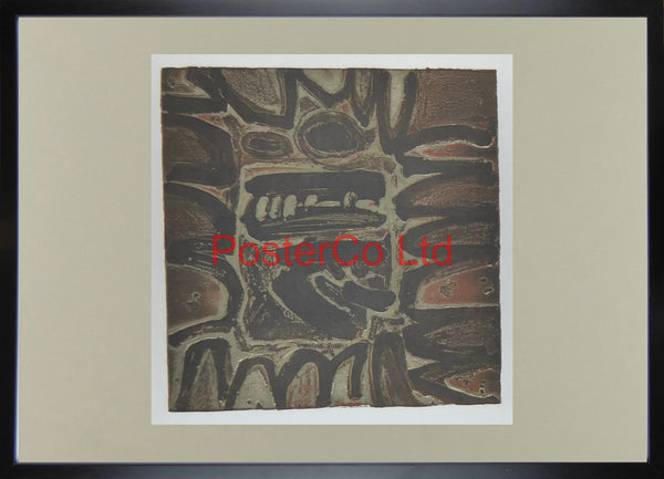 "Brown Abstract - Anon - (Original Issue) - Framed Painting - 20""H x 28""W"