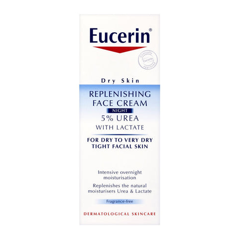 Eucerin Replenishing Face Cream Night 5% Urea for dry to very dry tight facial skin - 50ml
