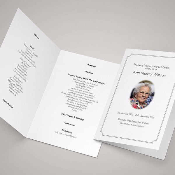 Funeral Order Of Service Booklets