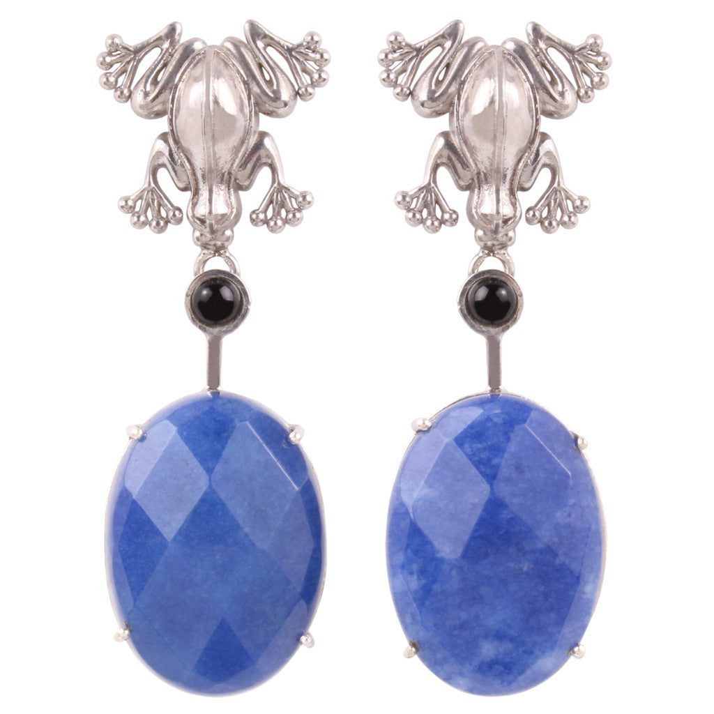 Prince Charming - Blue Jade Silver Earrings - Coup Jewelry