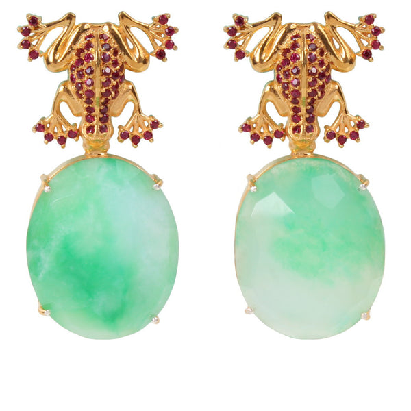 Jaded Silver/ Gold Plated Earrings with Jade - Coup Jewelry