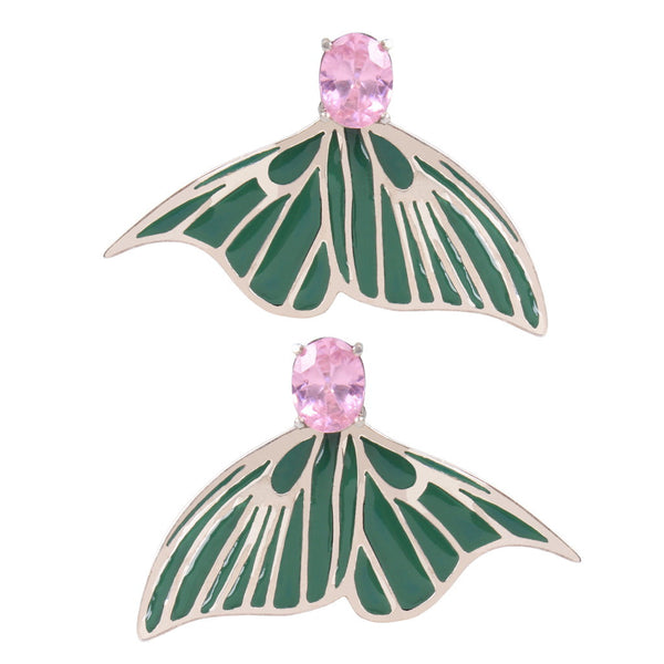 Tale to be Told Enamel/pink stone Silver Earrings - Coup Jewelry
