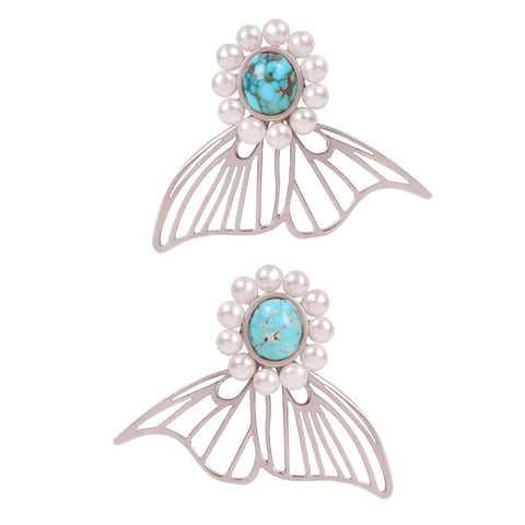 Tale to be Told Pearl-Turquoise Silver Earrings - Coup Jewelry