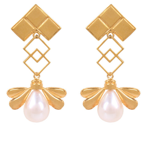 Rain Pearl Silver/ Gold Plated Earrings - Coup Jewelry