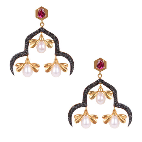 Sanctuary - Pearl & Zircon Silver/ Gold Plated Earrings - Coup Jewelry