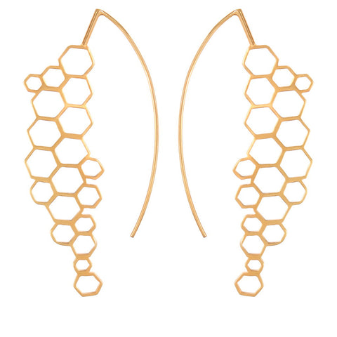 Beehive-Half Moon Earrings - Silver/ Gold Plated - Coup Jewelry