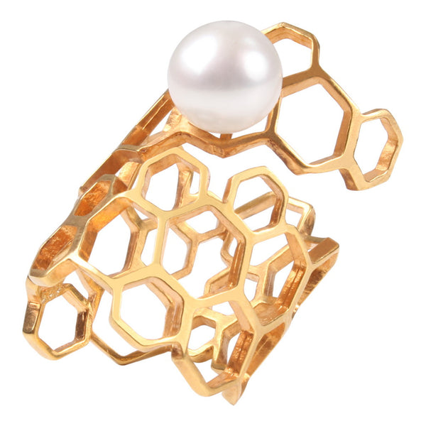 Hive Wrap Silver/ Gold Plated Pearl Ring by Coup Jewelry