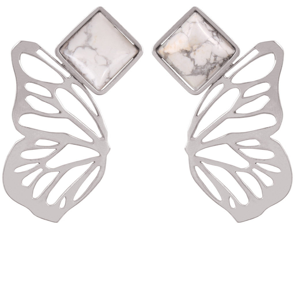 Butterfly Effect Howlite/Silver Earrings - Coup Jewelry