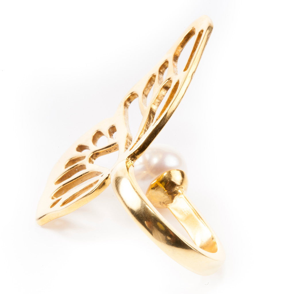 Butterfly Effect - Pearl Ring Silver/ Gold Plated - Coup Jewelry