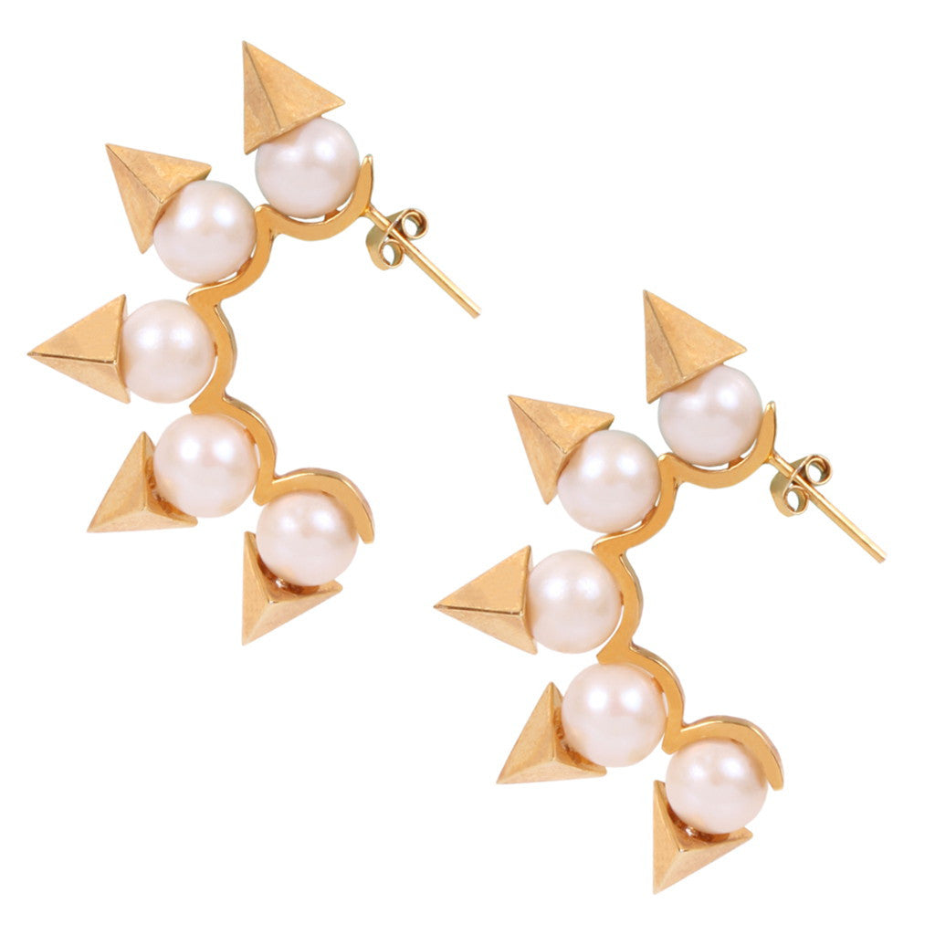 Pyramid Rocker - Pearl Silver/ Gold Plated Earrings - Coup Jewelry